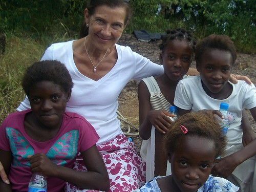 Jane Kaye-Bailey with the girls who inspired the founding of The Butterfly Tree